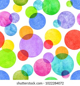 Colorful circle seamless pattern with grunge effect. Abstract geometric round shape sphere disc disk texture on white background. Abstract simple bright color watercolor hand drawn illustration