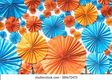 Colorful Circle shape folding paper on white background