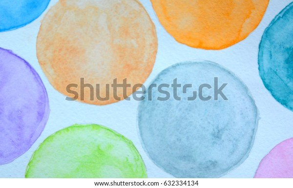 Colorful circles, watercolor, painted  hands
