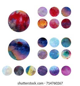 Colorful circles. Web design. Circles isolated on white background. Logo design. Art geometric pattern. Web design. Painted circles. Painter logo
