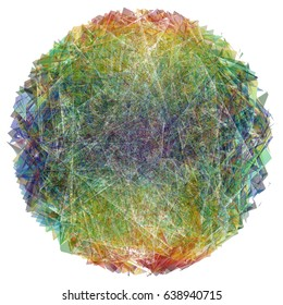 Colorful circular core element made of colliding polygons