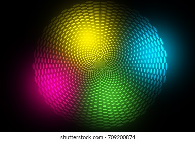 Colorful circular halftone and dots design. Glowing creative raster illustration. Futuristic disco background. Hypnotic abstract flower.