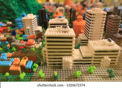 the colorful city building by toys of blocks