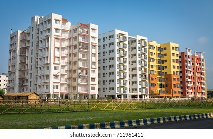 Colorful city residential buildings with clear blue sky at Rajarhat area of Kolkata, India.