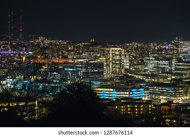 Colorful Cityscape Lights Background of Seattle Buildings Illuminated from Viewpoint
