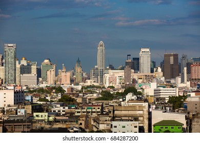 Colorful cityscape of towers and building of Bangkok city with blue sky