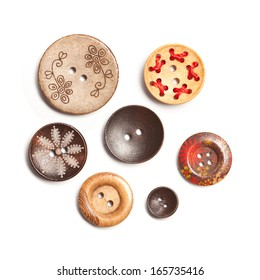 Colorful Clasper, Buttons made of wood isolate on white background