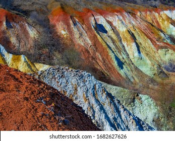 Colorful clay hills. Natural abstract landscape.
