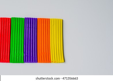 Colorful clay on white background,select focus