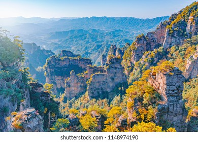 Colorful cliffs in Zhangjiajie Forest Park at sunset. China.