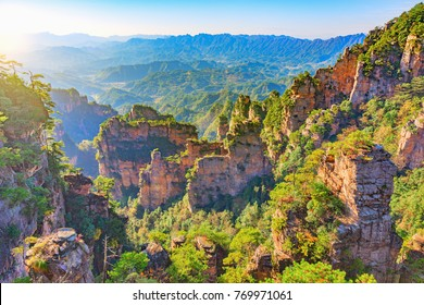 Colorful cliffs in Zhangjiajie Forest Park at sunset time. China.