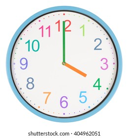 Colorful clock showing four o'clock isolated on white background