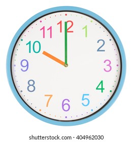 Colorful clock showing ten o'clock isolated on white background