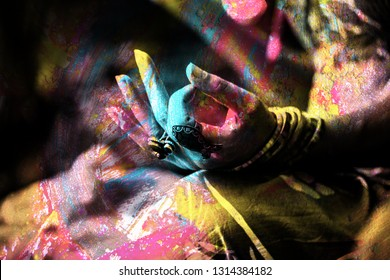 colorful closeup of woman hand in mudra gesture practice yoga outdoor double exposure