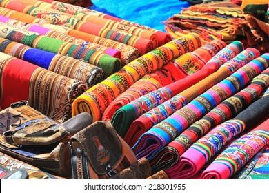 Colorful Cloth in local market of Cuzco, Peru