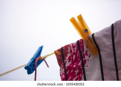 Colorful of clothes pegs