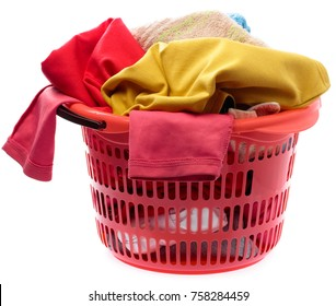 Colorful clothes in a red laundry basket isolated on white background