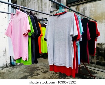 Colorful clothes that are dried after washing