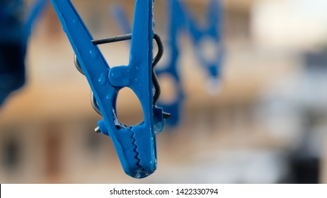 Colorful clothespin clothespins on the hangers. clothespins on the hangers rope for wash clothes. Used for making background