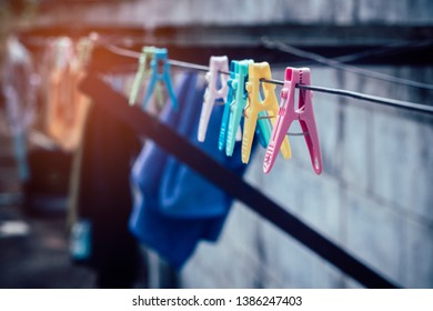 Colorful clothespin clothespins on the hangers,Vintage style