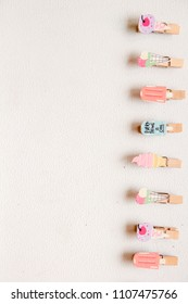 Colorful Clothespin with Ice Creams Decoration on Top