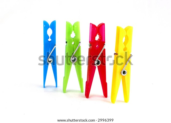 colorful clothespins on white