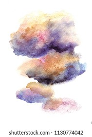 Colorful cloud watercolor illustration. Handdrawn background