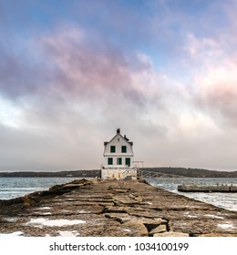 Colorful Clouds Above The Rockland Harbor Breakwater Lighthouse