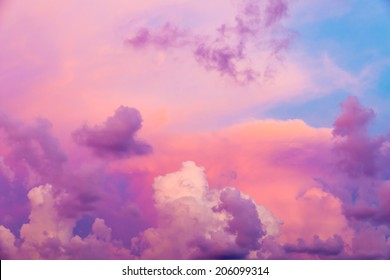 Colorful clouds on sunset sky, nature background
