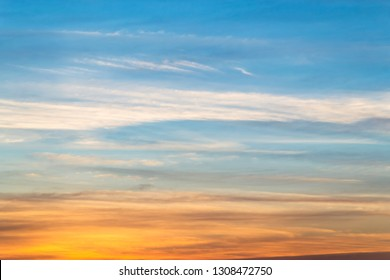 Colorful cloudy sky at sunset. Gradient color