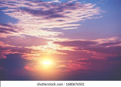 Colorful cloudy sky at sunset. Gradient color. Sky texture, abstract nature background - Shutterstock ID 1680676501