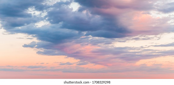 Colorful cloudy sky at sunset, natural background photo texture