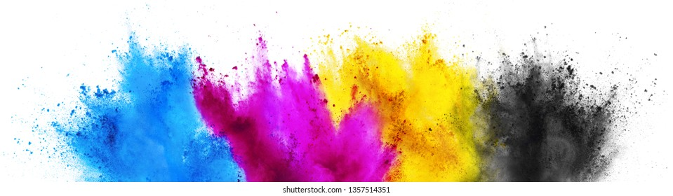 colorful CMYK cyan magenta yellow key holi paint color powder explosion print concept isolated on white background
