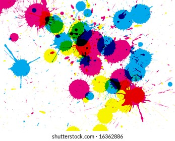 Colorful CMYK ink drops on white