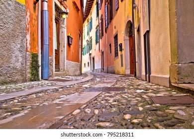 Colorful cobbled street of Cividale del Friuli, ancient town in Friuli Venezia Giulia region of Italy