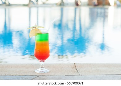 Colorful cocktail near the pool