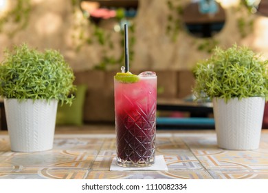 Colorful cocktail on top of the bar, summer coctails