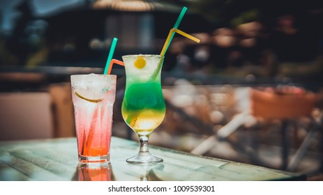 Colorful cocktails in bar