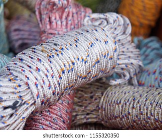 Colorful coil of nylon rope