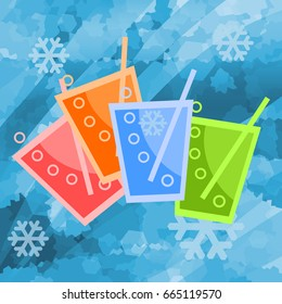 Colorful cold drinks in ice background