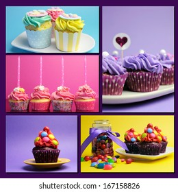 Colorful collage of bright color cupcakes for birthday, wedding, halloween, Christmas, baby or bridal shower, and wedding special occasions.
