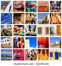 colorful collage and composition of objects or typical places of Morocco
