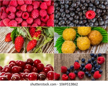 Colorful collage of different fruits and berries, for a food background. Photo of mixed various kinds of berries