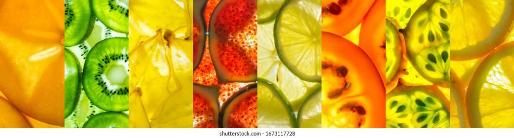 bunter Collage aus Obstscheiben