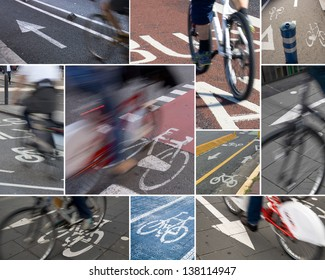 Colorful collage of  several urban cycle lanes.