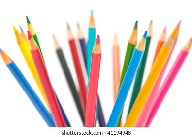 Colorful collection of pens with extreme DOF