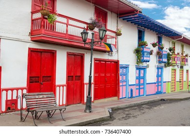 Colorful colonial architecture in the historic town of Salento, Colombia