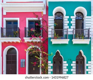 Colorful colonial architecture of old San Juan in Puerto Rico