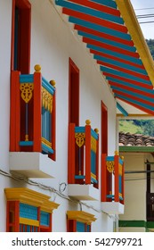 colorful colonial balconies in Jardin Colombia