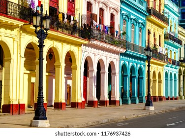 Colorful colonial buildings in Old Havana